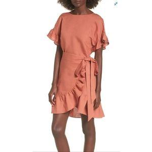 ASTR The Label Ruffle Linen Blend Wrap Dress